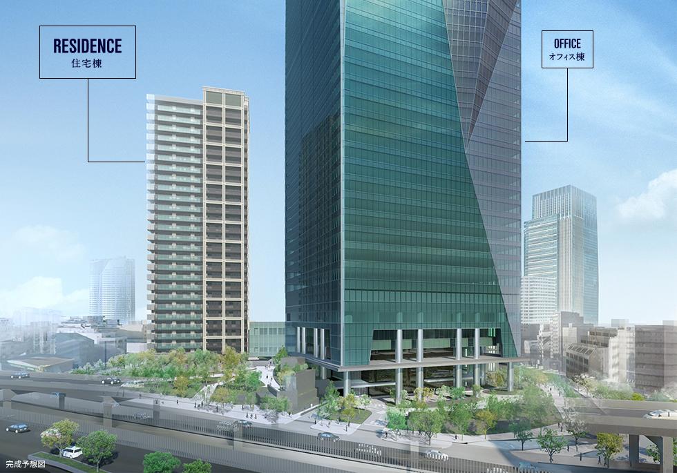 約2.7haの広大なエリアに、オフィス棟(40階)・レジデンス棟(27階)・商業棟(3階)から構成される大規模複合再開発になります。