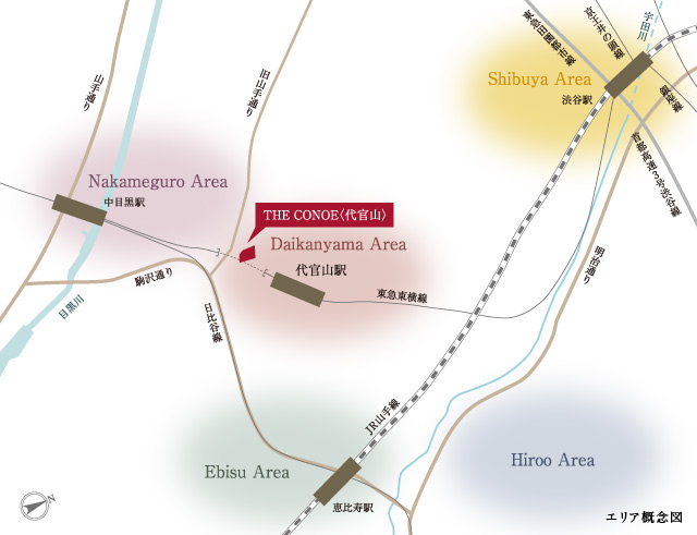 標高30m程の丘陵地である代官山。 「ザコノエ代官山」は旧山手通りと八幡通りが交わる場所に誕生しました。