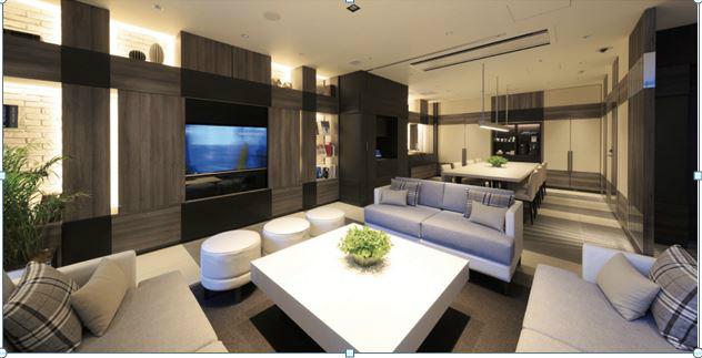 1階にはパブッリクリビングという優雅で高級感に溢れた空間
